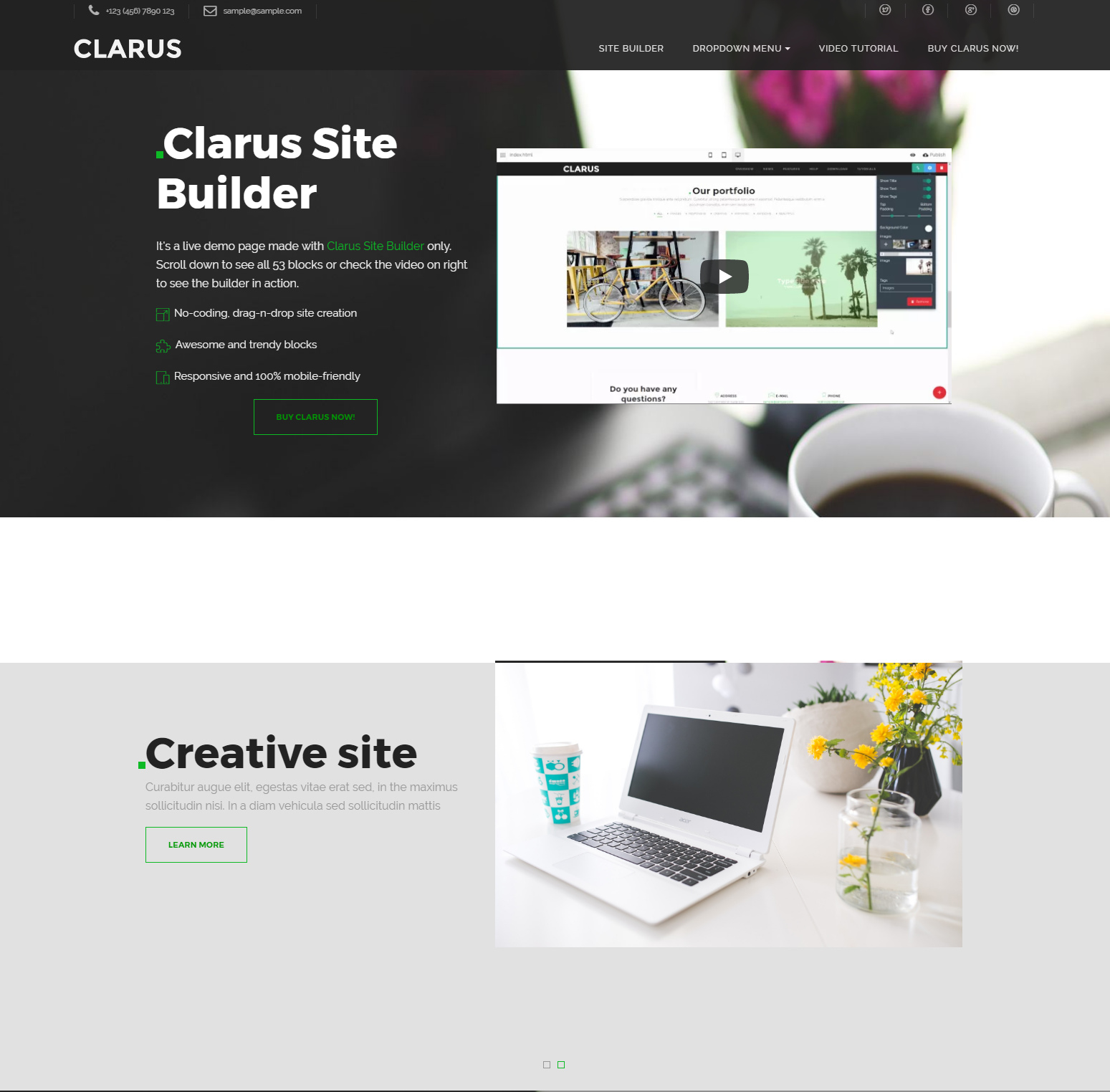 CSS3 Bootstrap Clarus Templates