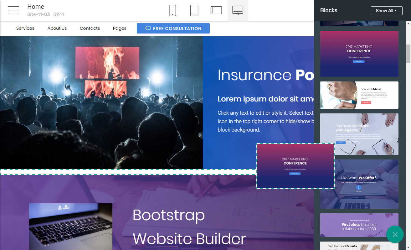 Bootstrap Landing page Builder